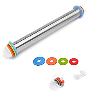 HONGLIDA Adjustable Rolling Pin with Thickness Rings Non Stick Stainless Steel Dough Roller-Great for Making Pizza Cutout Cookies Pastry Dough Fondant Cake Pie Crust