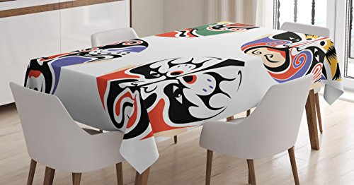 Asian Tribal Masks (Kabuki Mask Decoration Tablecloth by Ambesonne, Traditional Chinese Cultural Opera Mask Set Collection Asian Tribal, Dining Room Kitchen Rectangular Table Cover, 60 W X 90 L Inches, Multicolor)