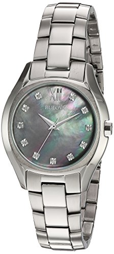 Bulova-Womens-Quartz-Stainless-Steel-and-Silver-Plated-Casual-WatchModel-96P158