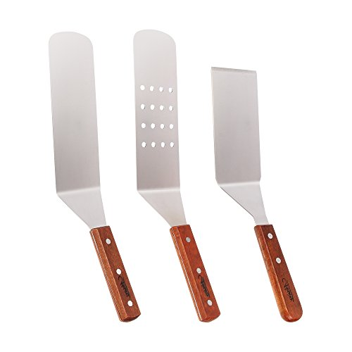 Stainless Steel Spatula Set - Nosiva Cooking Utensils Kit, Smooth Cooking Spatula, Metal Perforated Spatulas, Turner and Scraper with Wooden Handles for Teppanyaki Outdoor Grills Griddle
