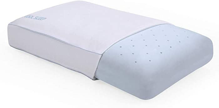 Classic Brands Cool Sleep Ventilated Gel Memory Foam Gusseted Pillow with Performance Cool Pass Cover, White, Queen - 810705-6050