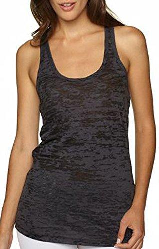 Activewear Running Workouts Clothes Yoga Racerback Tank Tops Women (L, Black) (Black Burnout Tank)