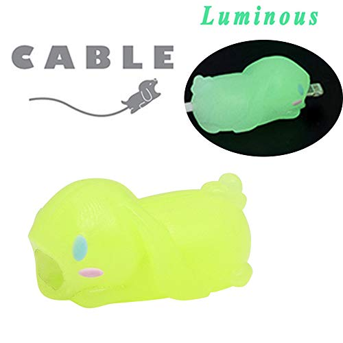 (BabiQ Animal Cable Protector Bite for iPhone ipad Accessory Cell Phone (Luminous Rabbit E))