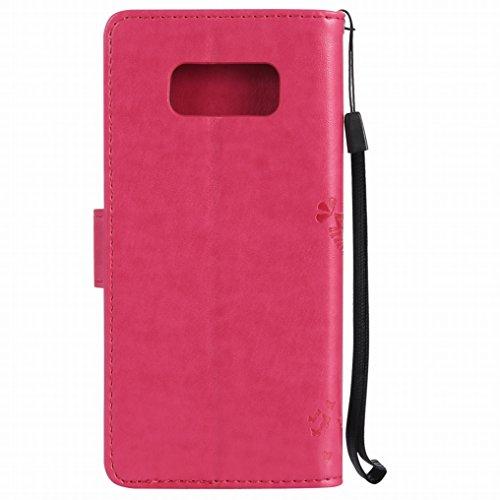 Custodia Samsung Galaxy S8 Cover, Ougger Alberi Gatto Printing Portafoglio PU Pelle Magnetico Morbido Silicone Flip Bumper Protettivo Gomma Shell Borsa Custodie con Slot per Schede (Rose Rosso)
