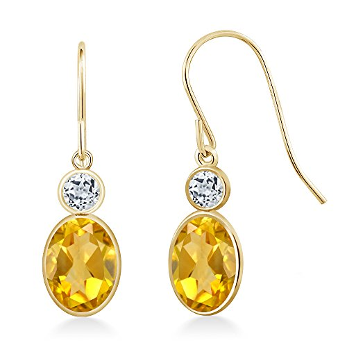 Gem Stone King 1.48 Ct Oval Yellow Citrine White Topaz 14K Yellow Gold Earrings