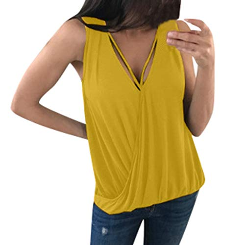 GREFER Plus Size Top Women's Summer Sexy Draped Wrap Small Camisole Blouses Tank Tops Yellow