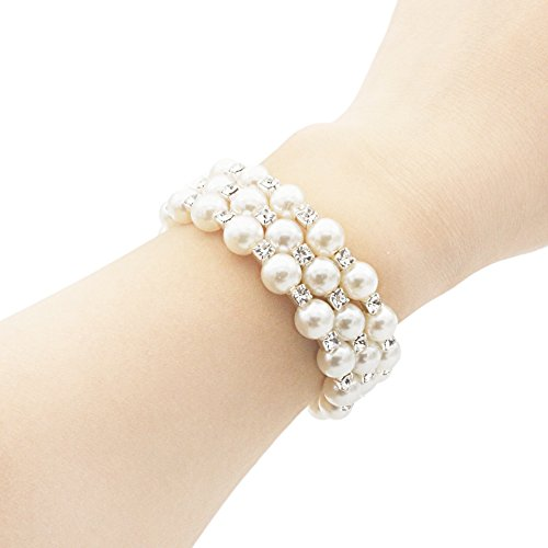 JSEA 3-Womens 6mm Simulated Pearl Rhines - 3 Row Stretch Pearl Bracelet Shopping Results