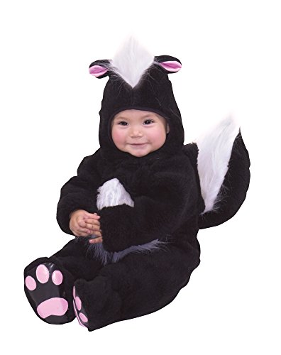 Charades Unisex-Adult's Little Skunk Costume, Black/White, Infant with Snap Tape -