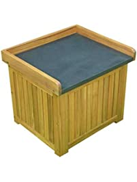 Small Deck Box Patio Storage   Wood, Coated Steel Top, Brown