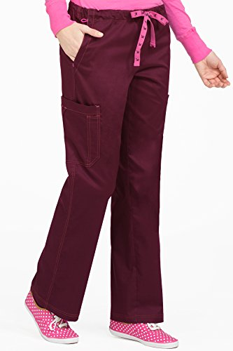 Med Couture Signature Women's 2 Cargo Pocket Scrub Pant, Wine, Medium Petite Cargo Pocket Scrub Pants Wine