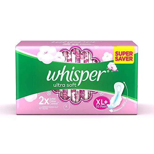 Whisper Ultra Soft Air Fresh Sanitary Pads for Women, XL+, 30 Napkins