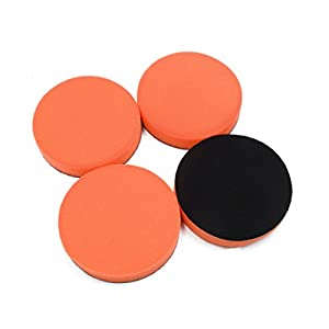 uxcell 4Pcs Orange 5 Inch Dia Polishing Sponge Mop Pad Polisher Cleaner Tool for Car