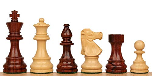 Double Pieces Staunton Chess Weighted (French Lardy Staunton Chess Set in Rosewood & Boxwood - 2.75