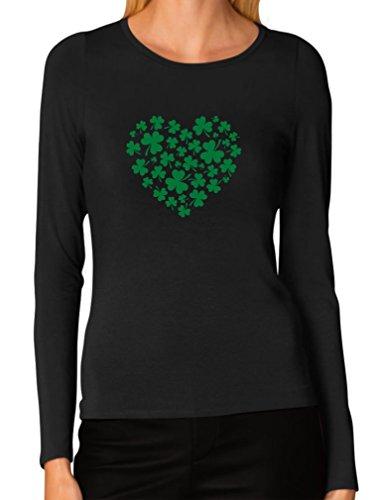 Tstars TeeStars - Irish Green Clovers Heart ST. Patrick's Women Long Sleeve T-Shirt X-Large (Irish Heart Green T-shirt)