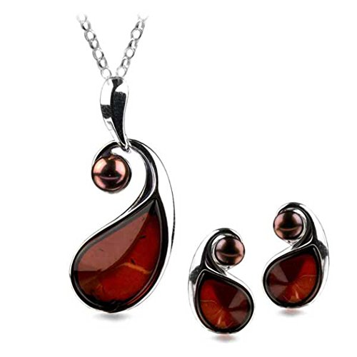 Cherry Amber Sterling Silver Pearl Earrings Pendant Necklace Set Chain 18