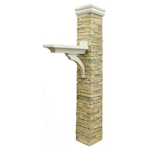 - Eye Level Beige Cast Stone Mailbox Post with Curved Cap