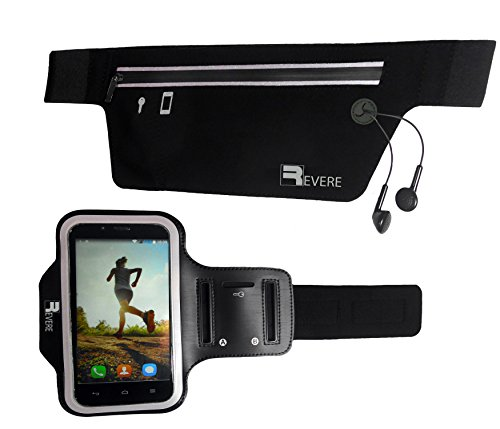 Premium Running Belt  Sports Armband for iPhone 654 Samsung S6S5S4. Professional Exercise Set with Headphone Ports and the Latest Sweat Blocking Technology. Extra Reflective - No Bounce - Super Slim Sports Belt and Phone Armband perfect for Cellph...