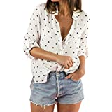 OCEAN-STORE Women Work Blouses Stars Print Roll-up Long Sleeve Pullover Sweaters for Women Button White Shirt Tops