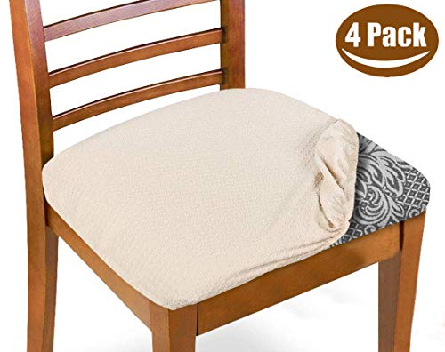 Melaluxe Stretch Dining Room Chair Seat Covers, Removable Washable Jacquard Anti-Dust Upholstered Kitchen Chair Seat Cushion Slipcovers (Beige,Pack of 4)