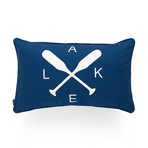 Hofdeco Decorative Lumbar Pillow Cover INDOOR OUTDOOR WATER RESISTANT Canvas Summer Lake Navy Blue LAKE Word Paddle 12