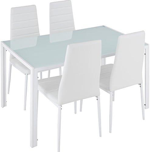 TecTake Conjunto de Mesa y 4 sillas de Comedor   Alto Grado de Confort   Tablero de la Mesa Robusto, de Vidrio Templado de...