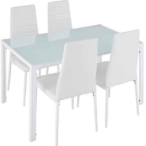 TecTake Conjunto de Mesa y 4 sillas de Comedor | Alto Grado de Confort | Tablero de la Mesa Robusto, de Vidrio Templado de Seguridad (Blanco | No. 402838)