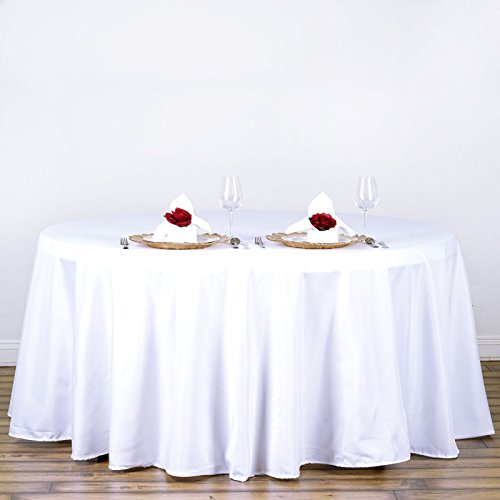 "Efavormart White 120"" Round Polyester Tablecloth"