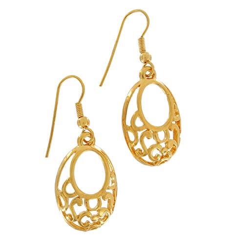 Gold Tone Ornate Oval Openwork Dangle Chandelier Pierced Earrings 1 3/4