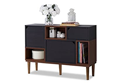 Baxton Furniture Studios Anderson Mid-Century Retro Modern Oak and Wood Sideboard Storage, Espresso