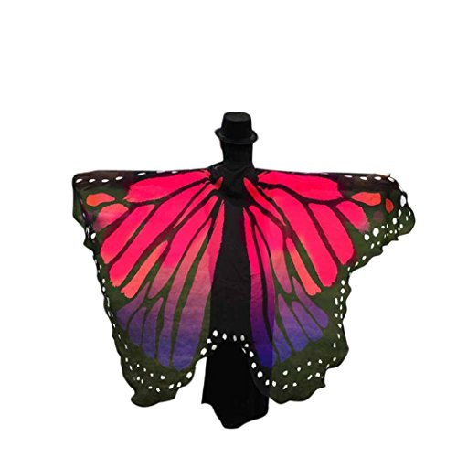 Women Scarf Shawl, Doinshop Butterfly Wings Stole Wrap Fairy Nymph Costume Accessory (Free Size, Hot (Pink Butterfly Adult Wings)