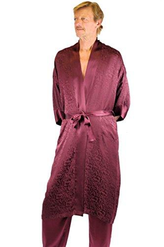 Nyeez Men's Classic Silk Robe Kimono Bathrobe Short (One Size, Zin Long)