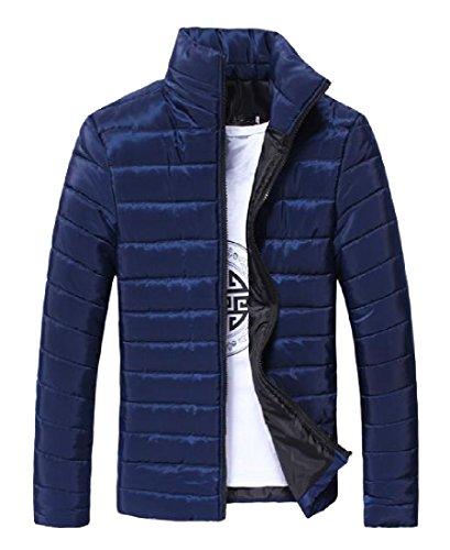 Collar Anorak Casual Zip Solid Fit blue Stand XINHEO Jacket Thicken Mens Navy C6qOt