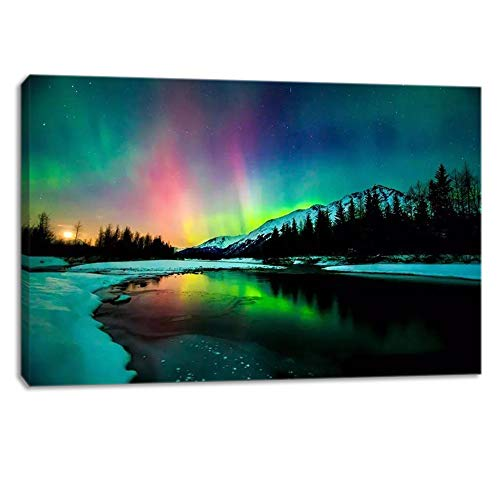 KALAWA Nature Landscape Aurora Borealis Artwork Painting Blue Green Northern Light Canvas Prints for Living Room Bathroom Wall Decoretion Framed Ready to Hang (24''W x 36''H, Northern Lights 01)