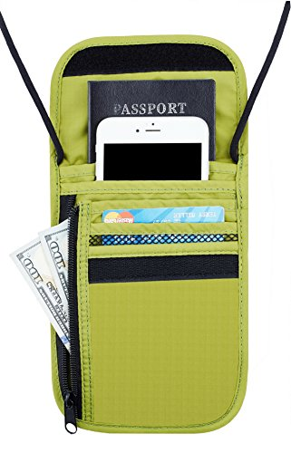 Travelambo Neck Wallet and Passport Holder Travel Wallet with RFID Blocking for Security (grass (Green Travel Wallet)