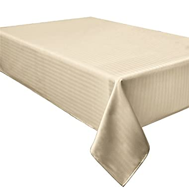 Creative Dining Group Herringbone Weave Spillproof Tablecloth, 60 by 84-Inch, Cream