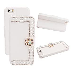 VAMVAZ Fashion Bling Rhinestone&Pearl Design White Magnetic PU Leather Wallet Flip Case Cover Skin For Apple iPhone 5C