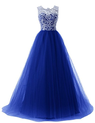 Gowns Lace Women's Royal Dresses Tulle Bridesmaid White Blue Long Dormencir Prom Ball YqBpTCxx4w