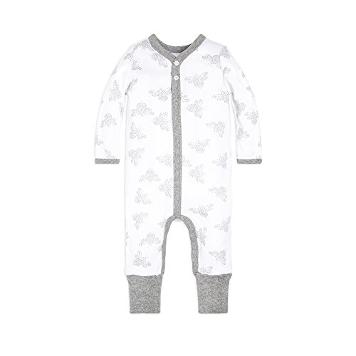 Burt's Bees Baby Baby Boys' Romper Jumpsuit, 100% Organic Cotton One-Piece Coverall, Heather Grey Snuggle Bee Snap Front, 0-3 Months