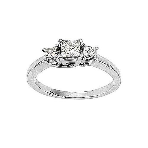 14kt White Gold 3 Stone Princess Cut 0.75ct Diamond Trellis - Diamond Ring Cut Trellis