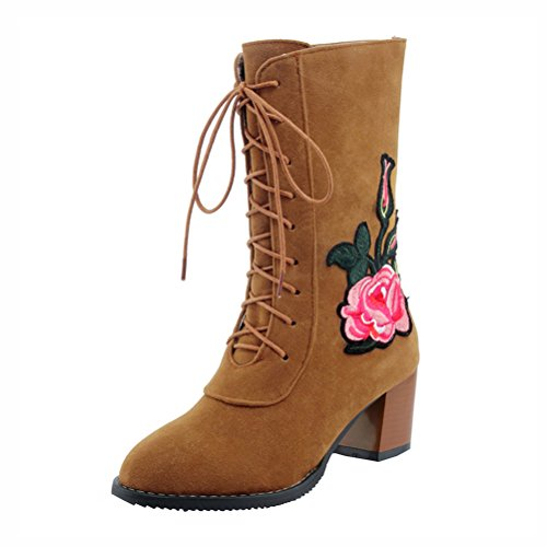 Agodor Womens Lace Up Embroidery Mid Calf Boots Mid Chunky Heel Nubuck Leather Winter Shoes Tan K5fwfbv