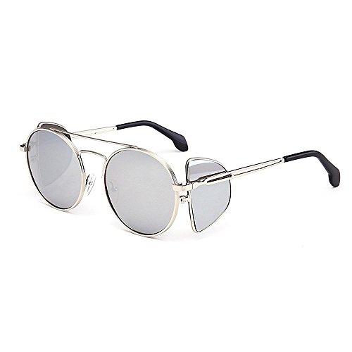 Elegante Unisex Estilo metal clásicos de mujeres protección viento gafas sol Retro sol unisex personalidad con punk de gafas hombres para sol estilo gafas de marco de borde A Plata de gafa redondo prueba UV rwwq5EU