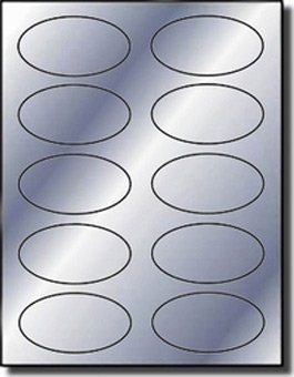 1,000 Label Outfitters Silver Metallic Foil Oval Stickers or Labels, 3-1/4 x 2 inches, 10 per Sheet by Label Outfitters