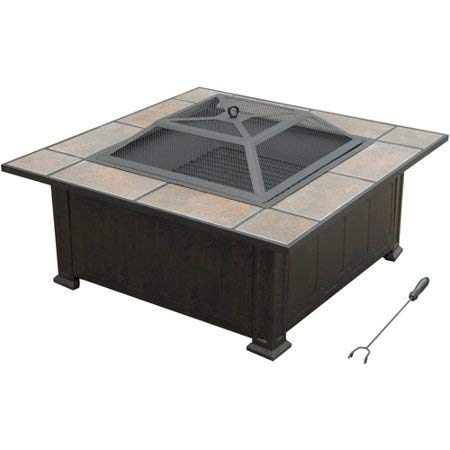Axxonn Tuscan Ceramic Tile Top Fire Pit, Black/Antique Bronze, High Temperature Painted Bowl and Safety Mesh Screen