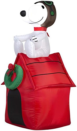 Gemmy Inflatable Snoopy on House, 3.5 Foot Holiday Inflatables Outdoor Decorations, -