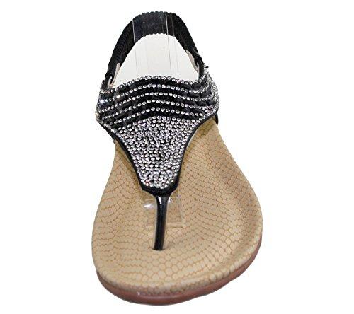 Womens Flat Sandals Ladies Diamante Toe Post Summer Wedding Soft Sole Shoes Black lqd2IRo