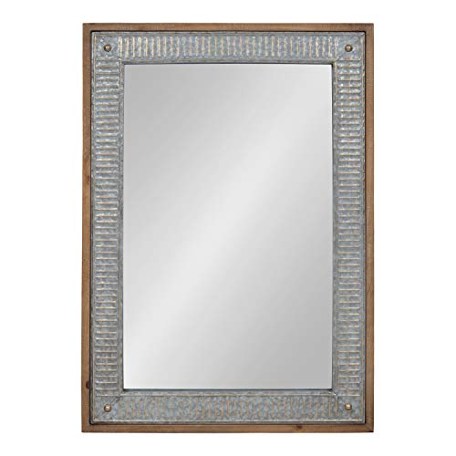 Kate and Laurel Deely Wood and Metal Framed Wall Mirror, 27x39, Rustic - Mirrors Metal Rustic Framed Bathroom