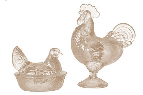 Dollhouse Miniature Rooster and Nesting Hen in Amber (Candy Rooster Glass)