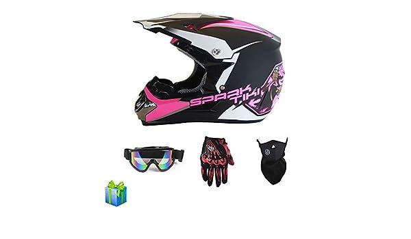 Wansheng Dual Sport Off Road Moto Motocross Casco Dirt Bike ATV Casco Dot Certificaci/ón Bull Fight con Gafas M/áscara a Prueba de Viento Guantes de Carreras,S55~56CM