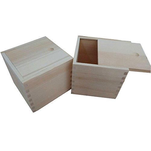 "StarMall Wooden Unfinished Storage Box with Slide Top-Square (Big(5"" x 5"" x 4.5""))"
