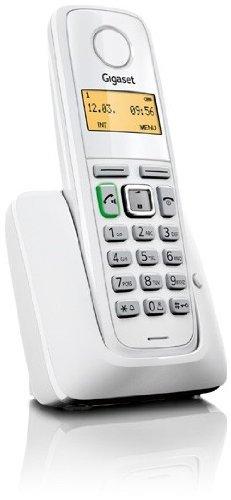 Siemens Gigaset A220 - Teléfono fijo inalámbrico, agenda de hasta 80 contactos, color blanco